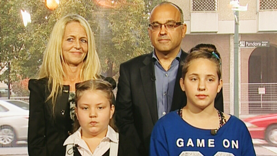 Tabetha (right) and Georgia-Grace Fulton (left), 13 and 8, both suffer from a degenerative lung disease so rare that it doesn't have a name. Their mother, Bobby-Jo (back left), brought the girls to Victoria, B.C., so they could access the cannabis oil treatment after a successful – and illegal – 12-week trial in Australia.