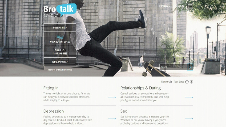 Kids Help Phone is launching BroTalk, a new service specifically designed for teenaged boys that's aimed at reducing the stigma and gender stereotypes associated with mental and emotional health issues.