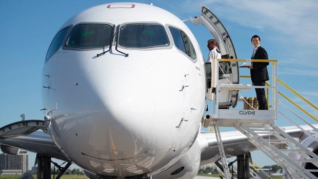 Guests tour Bombardier's new CS100