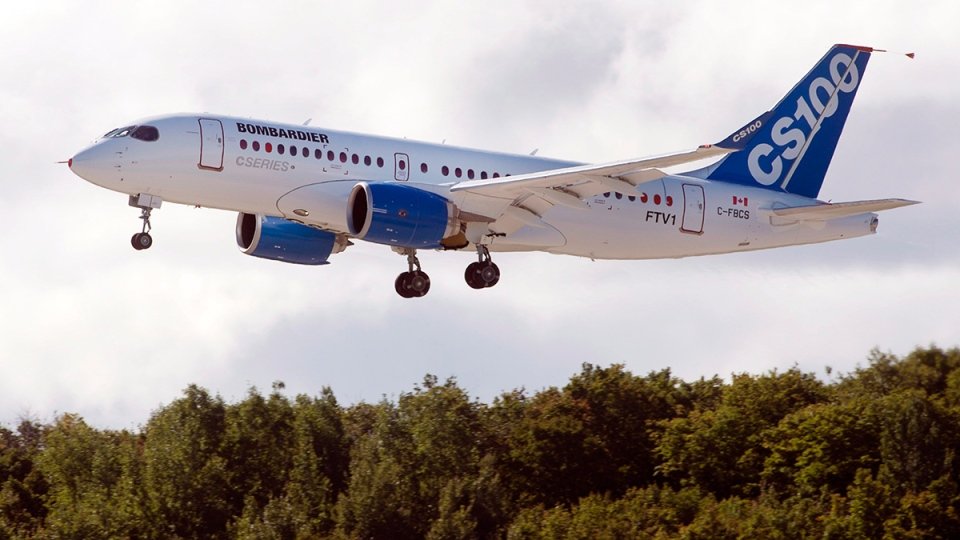 Bombardier's CS100 takes off on its maiden test flight at the company's facility, in Mirabel, Que., Monday, Sept. 16, 2013. (Ryan Remiorz/The Canadian Press)