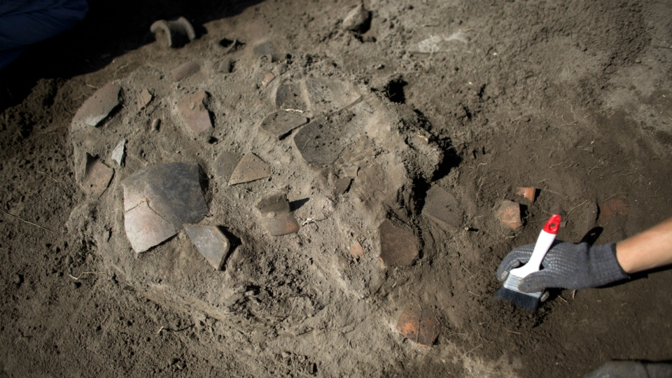 A worker clears the area around broken pottery lying in situ at the Zultepec-Tecoaque archeological site in Tlaxcala state, Mexico, Thursday, Oct. 8, 2015. (AP / Rebecca Blackwell)