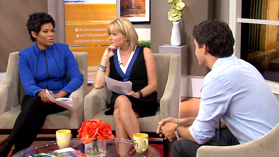Liberal Leader Justin Trudeau speaks to Canada AM hosts Marci Ien and Bev Thomson.