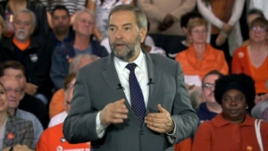 Mulcair speaking in Montreal