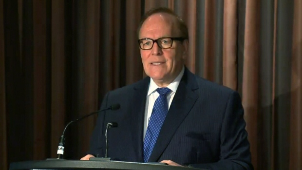 Former COC president Marcel Aubut speaks in Montreal on Friday, Oct. 9, 2015.