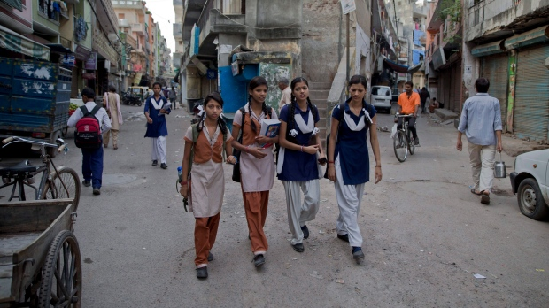 Image result for girls in India goes to school by walk