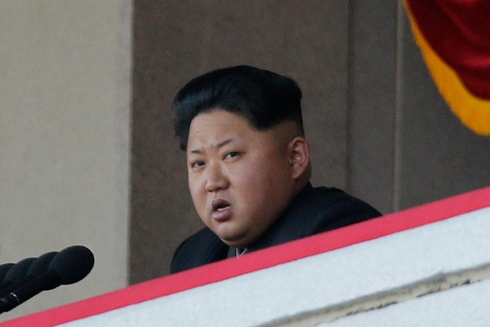 . North Korean leader Kim Jong Un delivers remarks at a military parade in Pyongyang, NorthKorea, Saturday, Oct. 10, 2015. (AP / Wong Maye-E)