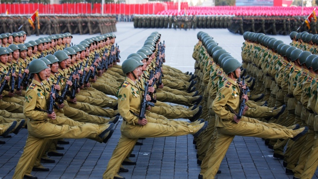 North Korean soldiers in historic uniforms march during a parade on the Kim Il Sung Square, Saturday, Oct. 10, 2015, in Pyongyang, North Korea. (AP / Wong Maye-E)