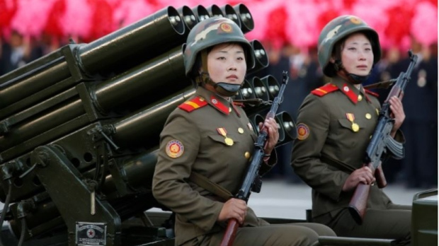 North Korean soldiers parade through Kim Il Sung Square with their missiles and rockets during a mass military parade, Saturday, Oct. 10, 2015, in Pyongyang, North Korea. (Wong Maye-E/AP)