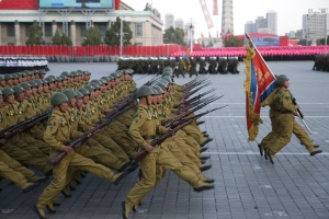North Korean soldiers parade in Pyongyang, North Korea, Saturday, Oct. 10, 2015. (AP / Wong Maye-E)