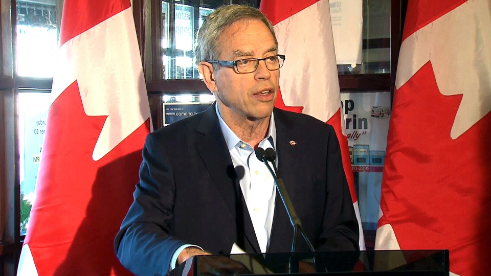 Conservative candidate Joe Oliver speaks in Toronto, Saturday, Oct. 10, 2015.