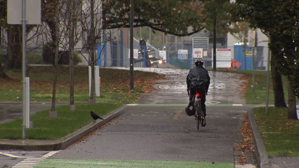 A cyclist bikes through the area the alleged assault occurred on Oct. 9, 2015. (CTV News).