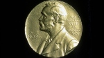 A Nobel Prize medal is seen in a file photograph.