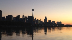 The Toronto skyline before sunrise on Friday, Sept. 26, 2014. (George Stamou / CTV News)