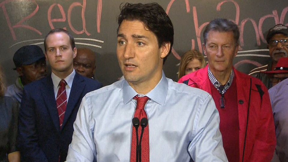 Liberal Leader Justin Trudeau speaks during a campaign stop in Toronto, Tuesday, Oct. 13, 2015.