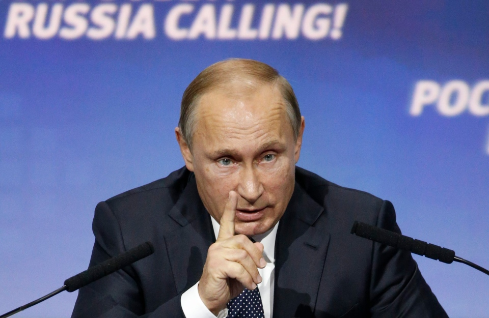 Russian President Vladimir Putin speaks at the 7th annual VTB Capital 'Russia Calling!' Investment Forum in Moscow, Russia, Tuesday, Oct. 13, 2015. (Sergei Karpukhin)