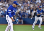 Toronto Blue Jays starting pitcher Marcus Stroman reacts after striking out Texas Rangers' Josh Hamilton during sixth inning game two American League Division Series baseball action in Toronto on October 9, 2015. (Nathan Denette / The Canadian Press)