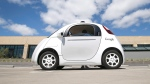 Google's new self-driving prototype car is presented during a demonstration at the Google campus in Mountain View, Calif., May 13, 2015. (AP / Tony Avelar)
