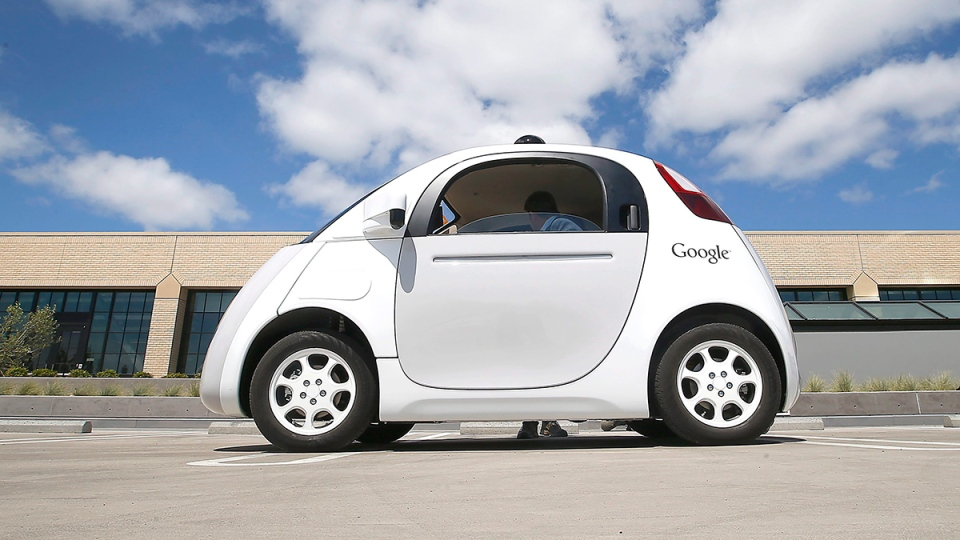 Police in California pulled over a Google self-driving car Thursday for going too slowly. But there was no driver in he car.  (AP / Tony Avelar)