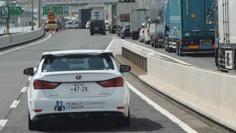 A Toyota Motor Corp. automated driving test vehicle enters a highway on-ramp in Tokyo, Tuesday, Oct. 6, 2015. (AP / Koji Sasahara)