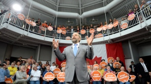 NDP Leader Tom Mulcair addresses supporters at a campaign event in Dartmouth, N.S., Wednesday, Oct. 14, 2015. THE CANADIAN PRESS/Ryan Remiorz