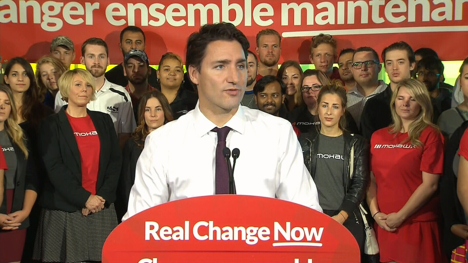 Liberal Leader Justin Trudeau speaks during a campaign stop in Hamilton, Ont., Wednesday, Oct. 14, 2015.