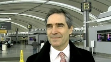 Liberal leadership contender Michael Ignatieff speaks with CTV News at Pearson International Airport in Toronto before boarding a plane to Halifax, Friday, Nov. 28, 2008.