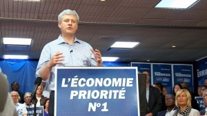 Stephen Harper says he is not taking any votes for granted in the final days of the election campaign. Thursday, Oct 15. 2015.