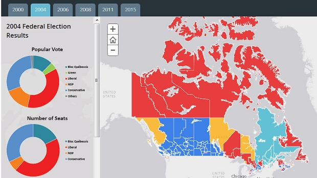 Elections Canada Map Map: Past Elections