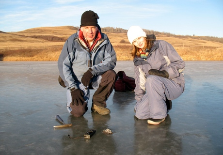 Planetary scientist Alan Hildebrand and graduate student Ellen Milley said they found meteorite fragments in a rural area near the border town of Lloydminster, Alta., late Thursday.Planetary scientist Alan Hildebrand and graduate student Ellen Milley said they found meteorite fragments in a rural area near the border town of Lloydminster, Alta., late Thursday. (Photo courtesy of Grady Semmens, University of Calgary)