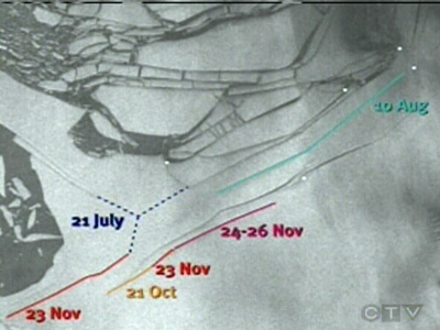 This map shows the glacier's retreat over time.