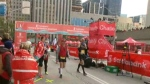 The finish line of the Scotiabank Toronto Waterfront Marathon is pictured.