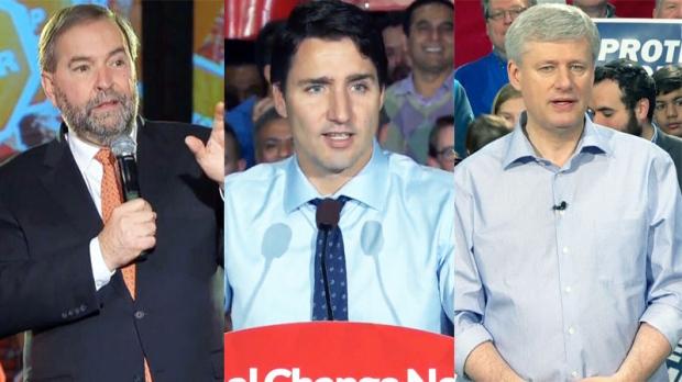 Tom Mulcair, Justin Trudeau, Stephen Harper
