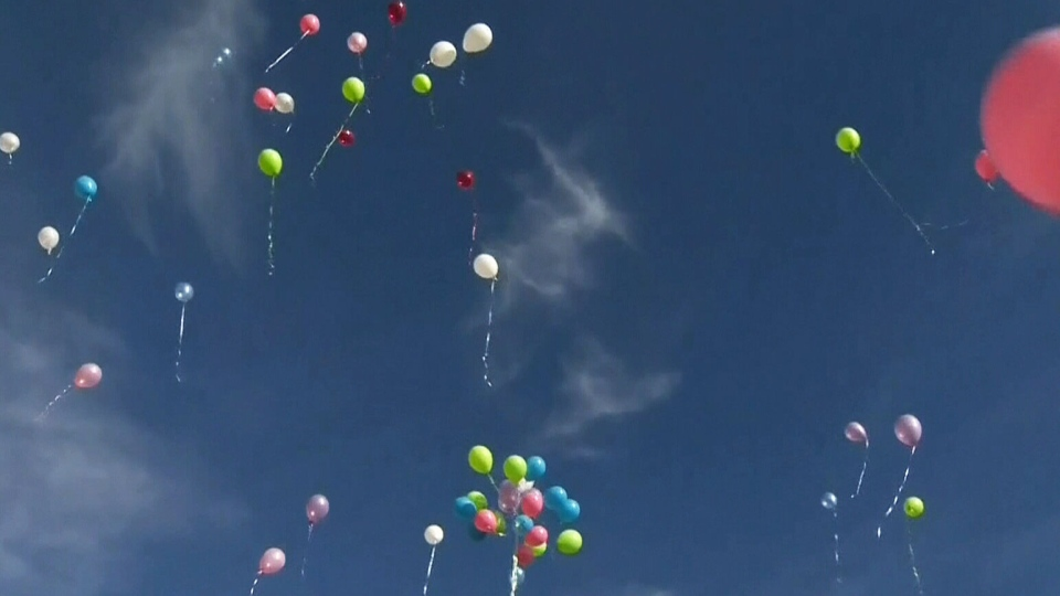 Hundreds of balloons are seen in this file photo