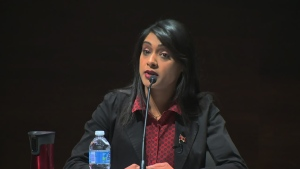 Bardish Chagger speaks at a candidates' meeting on Thursday, Oct. 1, 2015.