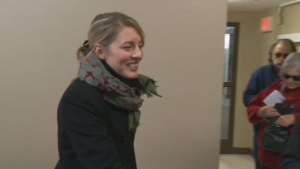Former mayoral candidate Melanie Joly has defeated the NDP's incumbent Maria Mourani in Ahuntsic-Cartierville.
