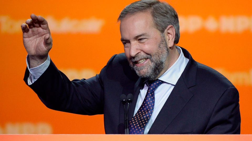 NDP Leader Tom Mulcair speaks to supporters in Montreal, Monday, Oct. 19, 2015. (Ryan Remiorz / THE CANADIAN PRESS)