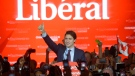 Liberal Leader and incoming prime minister Justin Trudeau speaks to supporters at Liberal party headquarters in Montreal early Tuesday, Oct. 20, 2015. (Paul Chiasson / THE CANADIAN PRESS)