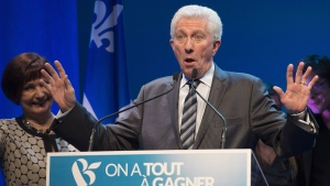 Bloc Quebecois Leader Gilles Duceppe arrives at the Bloc Quebecois election headquarters to speak to supporters, Tuesday, October 20, 2015 in Montreal. THE CANADIAN PRESS/Jacques Boissinot