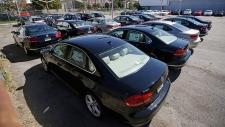 Volkswagen diesel cars at a dealership