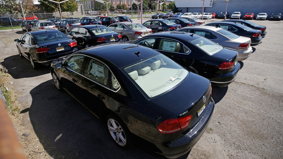 Volkswagen diesel cars are parked in a storage lot near a VW dealership in Salt Lake City, Sept. 23, 2015. (AP / Rick Bowmer)