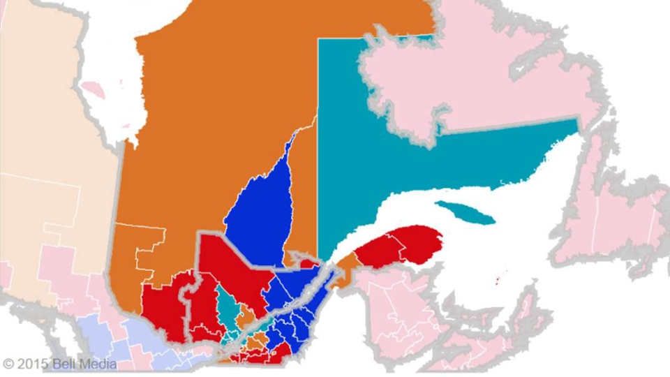 Riding map of Quebec