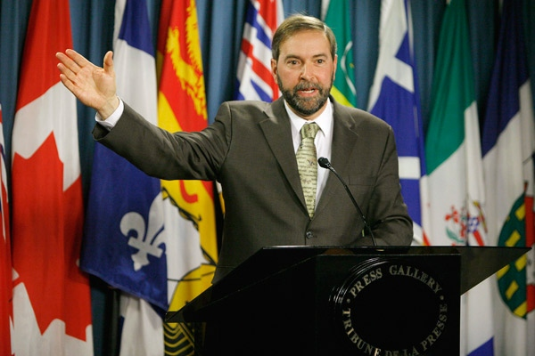 NDP MP Thomas Mulcair speaks during a press conference on Parliament Hill in Ottawa on Sunday Nov. 30, 2008. (Sean Kilpatrick / THE CANADIAN PRESS)