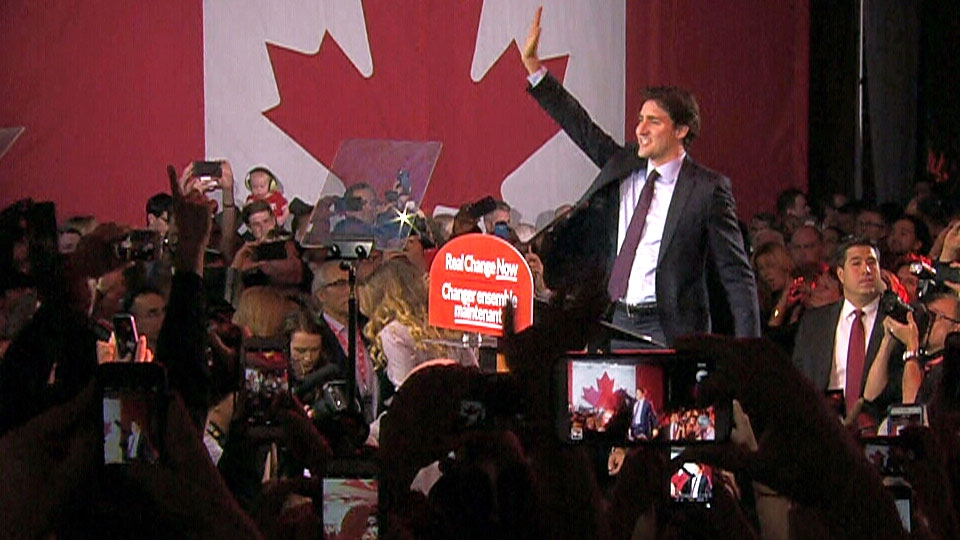 Prime minister-designate Justin Trudeau celebrates the Liberal Party's landslide win in Montreal on Monday, Oct. 19, 2015.