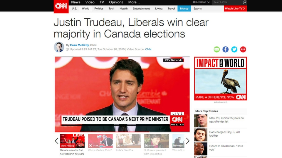 An Oct. 20, 2015 screenshot from CNN's website shows a headline about and image of Canada's new prime minister-designate, Justin Trudeau.