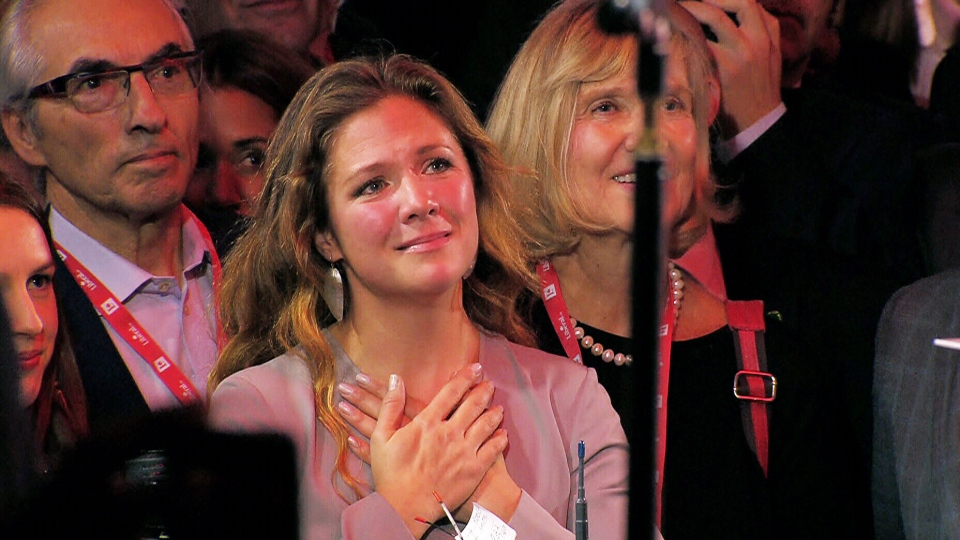 Sophie Gregorie-Trudeau watches her husband, Justin Trudeau, deliver his victory speech on election night.