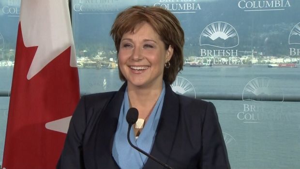 B.C. Premier Christy Clark answers questions at a press conference the day after Canada's 42nd election. Oct. 20, 2015. (CTV)