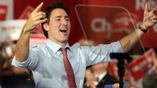 Prime Minister-designate Justin Trudeau at rally