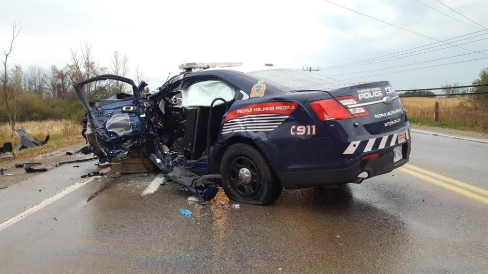 A damaged Waterloo Regional Police vehicle is seen following a serious crash outside Cambridge on Tuesday, Oct. 20, 2015. (Dave Ritchie)