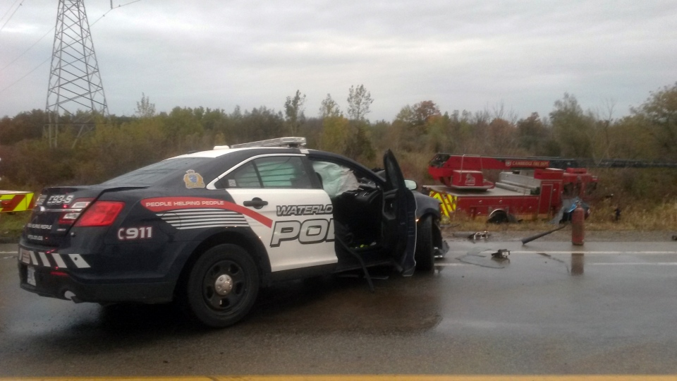 A Waterloo Regional Police cruiser and two fire trucks were involved in a collision at Dundas Street and Morrison Road outside Cambridge on Tuesday, Oct. 20, 2015. (Terry Kelly / CTV Kitchener)
