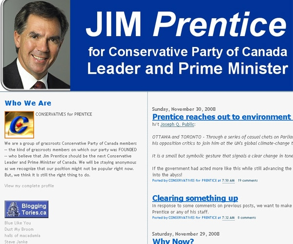 The mysterious website supporting Jim Prentice as the new Conservative leader.